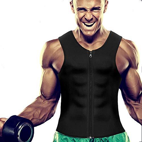 Mens Body Shaper Slimming Zipper Vest Weight Loss Workout Hot Sauna Sweat Tank Top Neoprene Long Torso (Black, Medium)