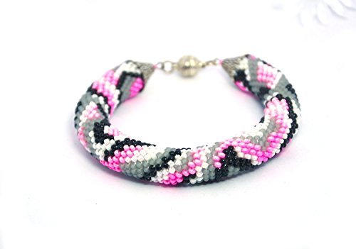 Pink black white gray Beaded crochet bracelet rope bangle Abstraction