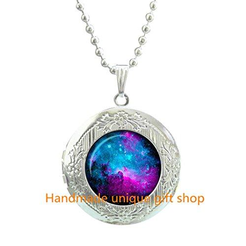 Fashion Locket Necklace, Charm Locket Necklace, Dainty Locket Necklace,NEBULA Locket Pendant Nebula Locket Necklace Universe Jewelry galaxy Locket Necklace universe space-RC356