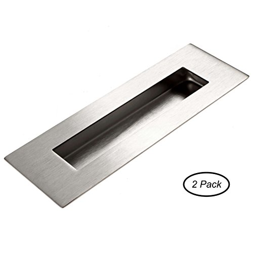 Flush Door Pull For Pocket Doors 2 Pack - Recessed Finger Pulls Stainless Steel With Satin Finish 6