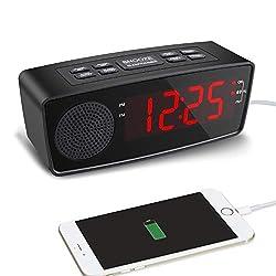 Alarm Clock, LED Digital FM Radio Clock with Dual USB Charging Ports, Dimmer, Sleep Timer, Snooze, Battery Backup for Bedrooms,Bedside, Desk, Shelf