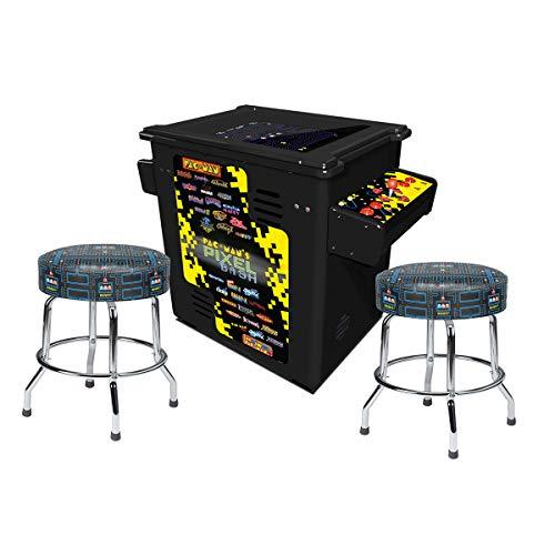 Down Arcade Sit (Namco Pac-Man Pixel Bash Black Cocktail Game with 2 Pac-Man Stools)