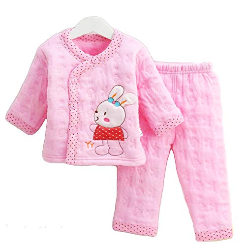 kidzvilla Newborn Baby Boy's and Girl's 2 Pieces Cartoon Print Cotton Suit Winter Wear Clothing Sets (0-6 Month)