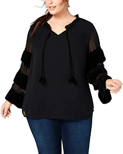 Style & Co Plus Size Velvet-Illusion Sleeve Top