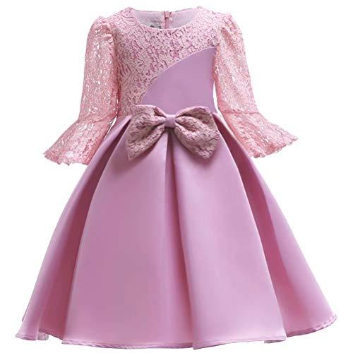 Flower Girl Dress Lace Crochet Bow Party Wear Costume