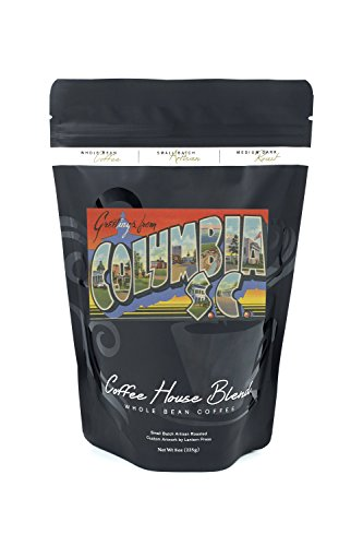 (Columbia, South Carolina - Large Letter Scenes (8oz Whole Bean Small Batch Artisan Coffee - Bold & Strong Medium Dark Roast w/ Artwork))