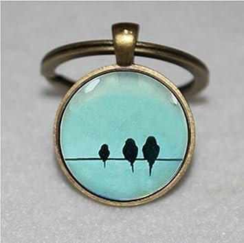 Llavero con diseño de pájaros en alambre, llavero de pájaro ...