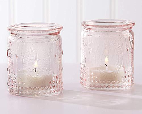 Kate Aspen Tea Light Holder, Vintage Glass Tealight Candle Holders, Perfect Wedding Favor, Bachelorette Favor or Bridal Shower Favor, 6 Set of 4, 24 Pieces (Pink) by Kate Aspen (Image #1)