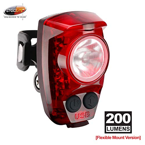 Cygolite Hotshot Pro 200 Lumen Bike Tail Light Flexible Mount Type 6 Night Daytime Modes User Adjustable Flash Speed Compact Design Ip64 Water Resistant Usb Rechargeable Great For Busy Roads