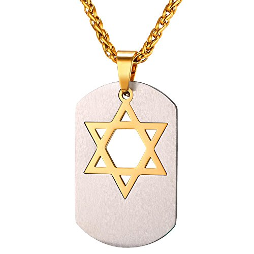 U7 Jewish Jewelry Star of David Pendant Necklace Women Men Chain Black Gun Plated/18K Gold Plated/Stainless Steel Israel Necklaces (Dog Tags Shield of David (Star Dog Tag Pendant)