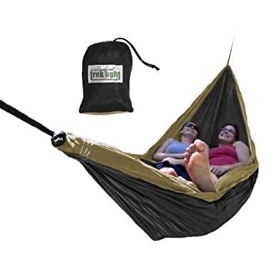Trek Light Gear Double Hammock - The Original Brand of Best-Selling Lightweight Nylon Hammocks - Extra Wide for the Most Comfort - Use for All Camping, Hiking and Outdoor Adventures {Black/Gold}
