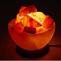 SourceDIY 100% PREMIUM AND AUTHENTIC HIMALAYAN CRYSTAL ROCK SALT FIRE BOWL LAMP|COMBINATION OF CRAFT AND NATURAL LOOK CE & BS CERTIFIED PLUG