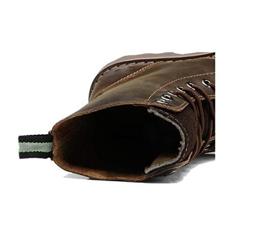 Brown Stagione Morbido Uomo Affari Pelle Tela Scarpe in Sportivi Nastro Colore Stivali Punta Casual Sandali A Tondo 1acWv4vp