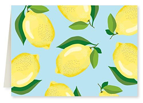 Faux Designs Lemons Foil Embossed Blank Folded Note Card Set of 8
