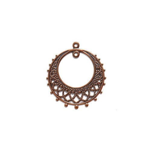 [Shipwreck Beads Electroplated Brass Earring Round Drop 1-Loop, 25 by 28mm, Metallic, Antique Copper, 3-Pairs] (Wire Drop Loops)