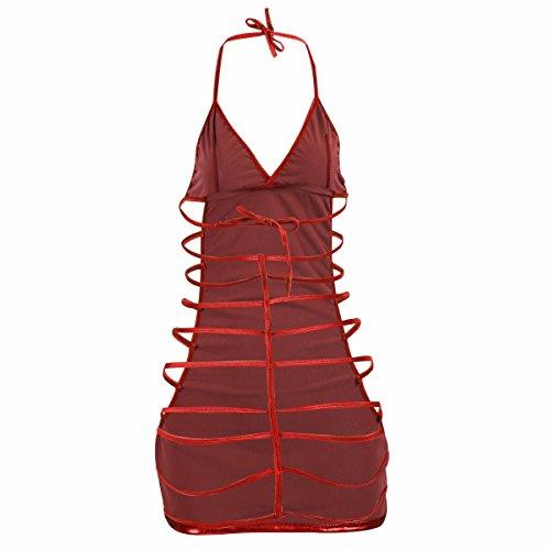 Freebily Pijamas Camisón Conjunto de Lencería Picardías + Tanga para Mujer Vestido Rojo
