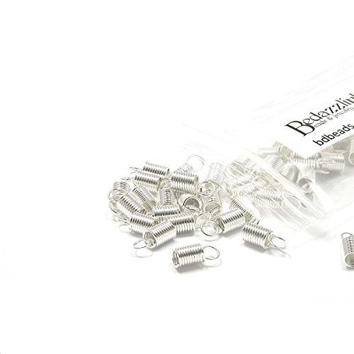 End Cord Plated (50 Coil Bead End Tip Findings for Thick 3mm Beading Cord & Leather Cording Ends (Silver Plated))