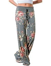 Women's Pajamas Comfy Pajama Lounge Pants Floral Print Drawstring Wide Leg Palazzo Pants