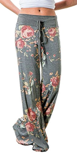 Elsofer Women's Palazzo Pajama Pants Summer Comfy Casual Stretch Floral Print Drawstring Wide Leg Beach Lounge Pants (Tag S (US 4), (Out Lounge Pants)