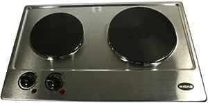 Hornillo eléctrico 2 placa 1500 + 1000 W Acero Inoxidable con termostato MIDAS MD-PCD2