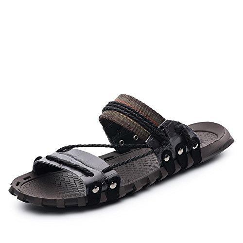Xing Lin Flip Flop De La Playa Los Hombres Sandalias _ Verano Palabra Pantuflas Sandalias De Gran Tamaño Nuevo Sandalias De Hombres XGZ7552 black