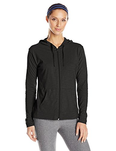 Classic Hooded Fleece Sweater - Hanes Women's Jersey Full Zip Hoodie, Black, Large