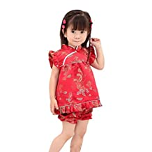 CRB Little Girls Qipao Chinese Dragon Outfit Red