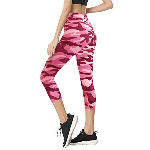 TNNZEET High Waist Capri Leggings for Women Opaque Slim Regular & Plus Size Elastic Buttery Soft Classic Yoga Pants Camouflage