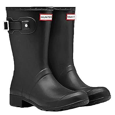 Hunter Women's Original Tour Short Packable Rain Boots Black 6 M US