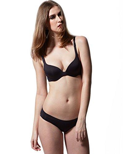 [Partner's Super Support Body Luxurious Profile BRA Lingeries 2 Pcs (36C+L, Black)] (Tracings Wire Free Minimizer Bra)