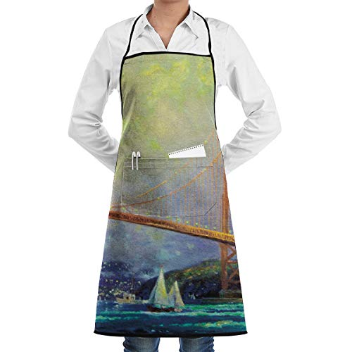 San Francisco Golden Gate Bridge Kitchen Apron - Mens and Womens Professional Chef Bib Apron - Adjustable Straps with Pockets