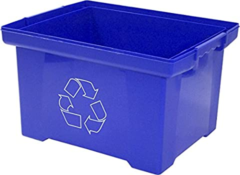 Storex 9 Gallon Recycle Bin, Blue (STX61549U01C) - Paper Recycling Bin