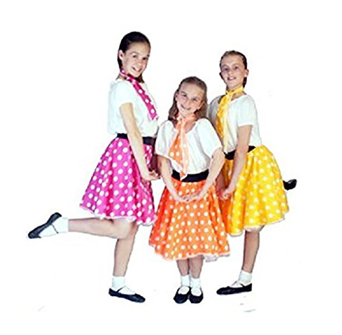 CL COSTUMES Dance-Troupes-50s-Stage-Rock and Roll Spotty JIVE Skirt & Neck TIE Available in Variety - All Sizes (Age ()