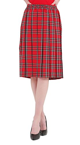 Unique Womens Femme Rouge ONLINE MA Jupe Red Taille Skirt Tartan q4wpX4CY