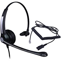 Audicom Corded RJ Headset with Noise Canceling Mic + Quick Disconnect for Toshiba Aastra Nortel Nec Mitel ShoreTel InterTel Talkswitch Iwatsu Packet8 Office Telephone IP Phones (H700RQDRJ1AA)