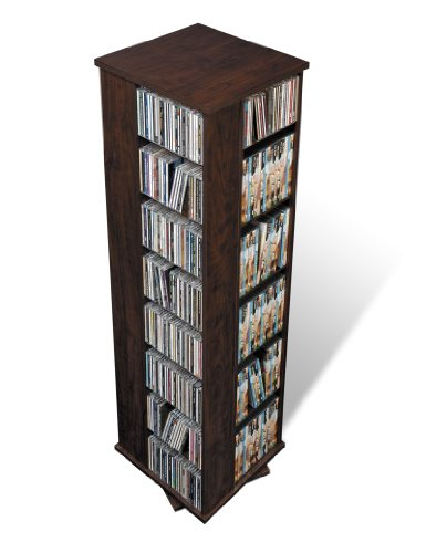 - Prepac Large Four-Sided Spinning Tower Storage Cabinet, Espresso