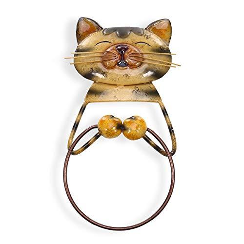 Tooarts Vintage Cat Bath Towel Ring Holder, Heavy Duty Iron Bathroom Hanger Towel Holder Lovely Animal Bathroom Accessories