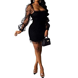 Womens Sexy See Through Dresses Puff Long Sleeve Bodycon Mesh Night Club Medium Dress Clubwear