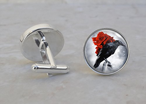 Raven With Red Rose Goth Emo Animal .925 Sterling Silver Cufflinks