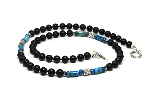 Onyx Toggle Necklace Black - Men's Larimar, Matte Black Onyx and 925 Sterling Silver Beads Necklace