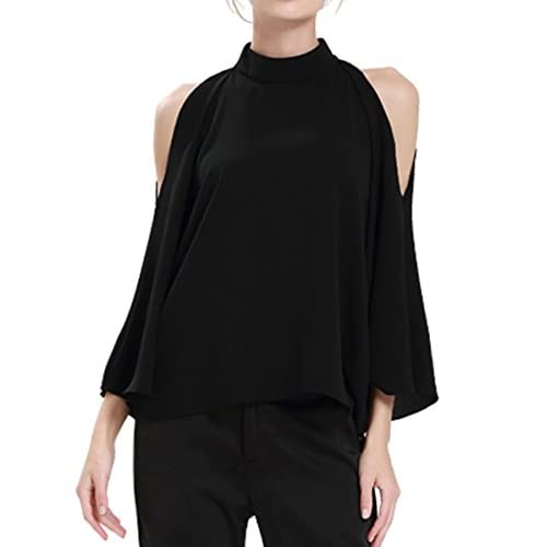 cd2fc5bc7b8a45 K Women s Cold Shoulder Top Bell Sleeve Flowy High Neck Chiffon Blouse