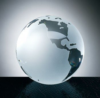 Optical Crystal Frosted Ocean World Globe Paperweight with Flat Bottom - (Optical Crystal Paperweight)