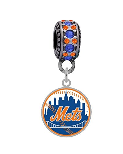New York Mets Slide - New York Mets Round Logo Charm with Connector Bead Fits European Style Large Hole Bead Bracelets