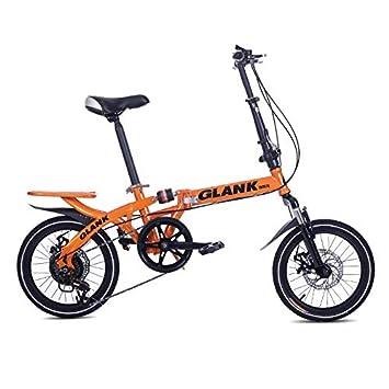 LETFF Bicicleta Plegable para Adulto de 16 Pulgadas Mini Bicicleta Estudiante Amortiguador Bicicleta, Naranja