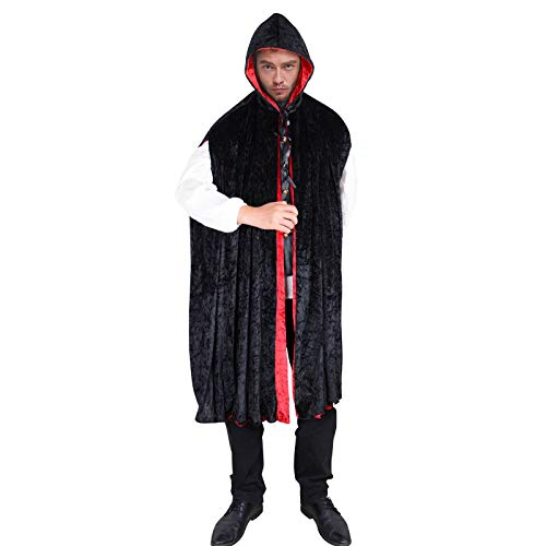 Adult Hooded Long Cape Halloween Costumes Gothic Vampire Witch Sorceress Cosplay Cloak Unisex Reversible Robe (Black) ()