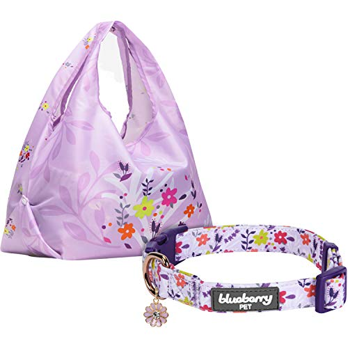 Blueberry Pet Pack of 2 Spring Scent Inspired Products in Lavender - Size Medium Dog Collar and Wildflower Print Lightweight Eco-Friendly Reusable Shopping Bag by Blueberry Pet