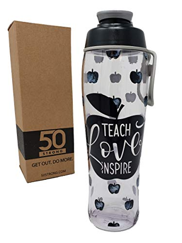 50 Strong Teacher Water Bottle - 24 oz. BPA Free for Teachers - Give Bottles As Thank You Gifts - Show Appreciation for Teachers - Easy Carry Loop - Made in USA (Teacher Apples, 30 oz.)