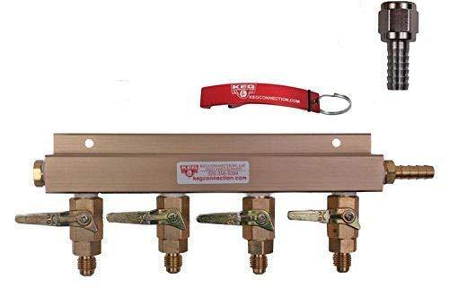 (4 Way Air Manifold, MFL Valves, Swivel Nut, 5/16 inch Stem by Kegconnection)