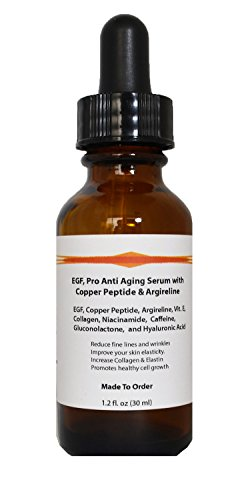 EGF, Pro Anti Aging Serum with Copper Peptide, Argireline, and Hyaluronic Acid (1.2oz)