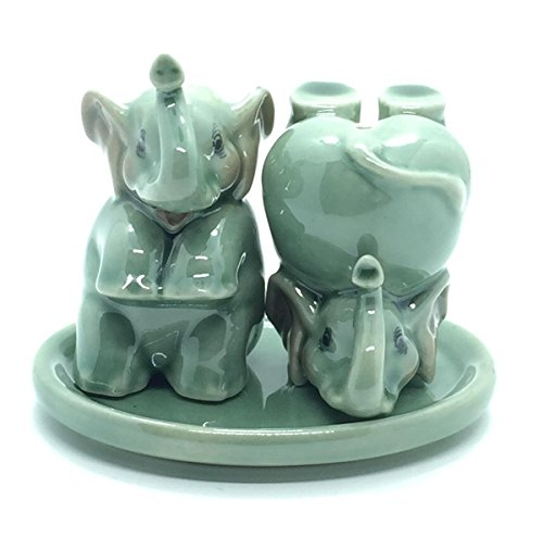 Cute Small Ceramic Green Elephants Salt and Pepper Shakers (Yin Copper Ornament Yang)